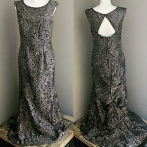 Mother of the Bride Silver Beaded Gown sz 12